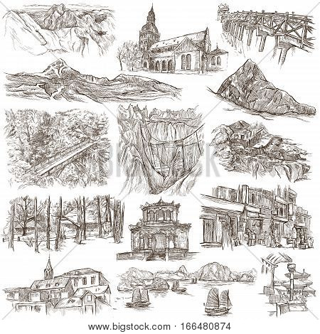 Architecture Buildings around the World. An hand drawn full sized illustrations. Collection of line art pictures. Drawing on white background.