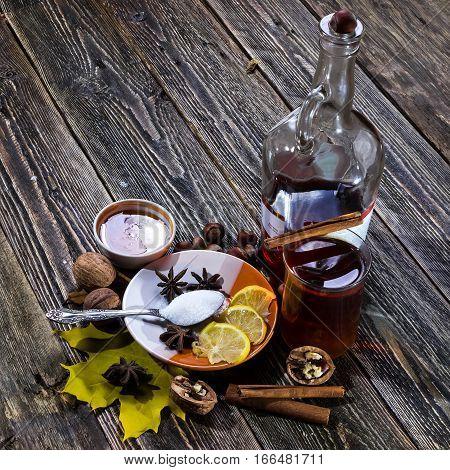 Traditional hot glogg. Drink with lemon honey and cinnamon.