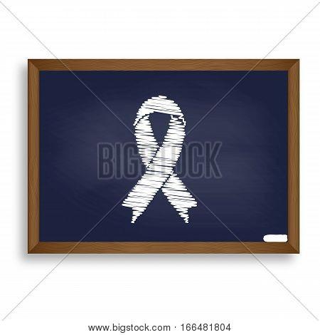 Black Awareness Ribbon Sign. White Chalk Icon On Blue School Boa