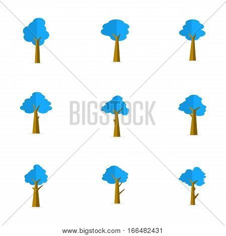 Vector illustration of tree set collection stock