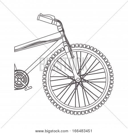 silhouette medium part bicycle with pedals in closeup vector illustration