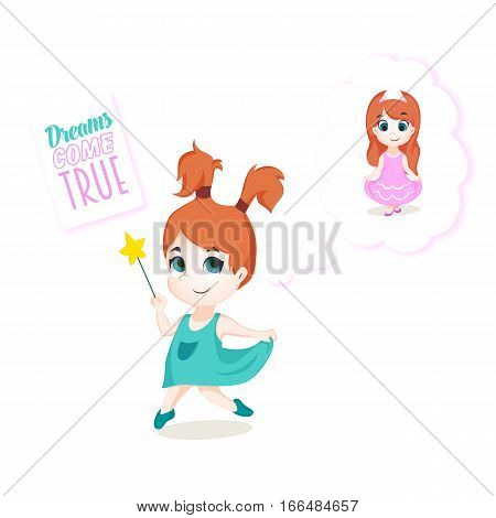 Dreaming cute little girl with magic wand. Vector illustration. Dreams come true.