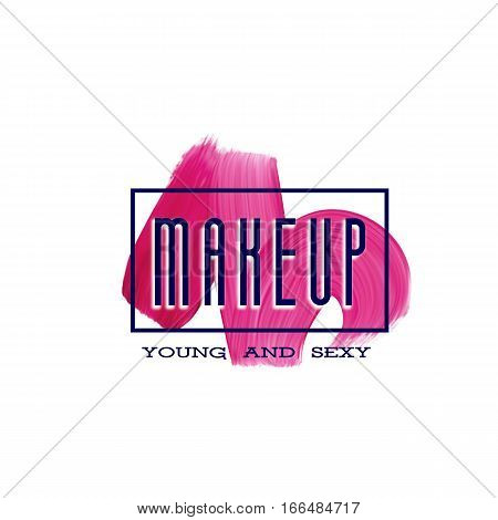 Make up print design with lipstick mark. Makeup modern logo with paint brush smear. Beauty creative woman business card template.