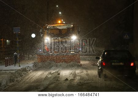 Snowfall On The Streets Of Velika Gorica, Croatia