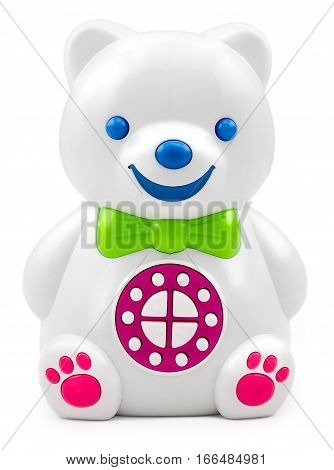 Electronic interactive children's toy speaker bear with the control panel buttons on isolated background