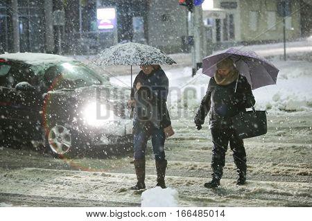 Snowfall On The Streets Of Velika Gorica, Croatia