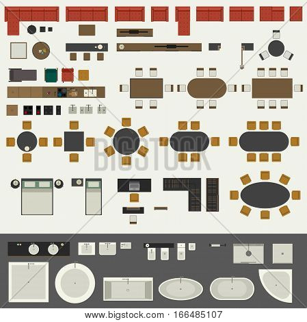 Icons set of interior elements, top view. Furniture and elements for living room, kitchen, bedroom, bathroom.