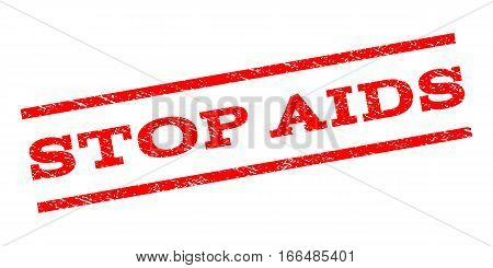 Stop AIDS watermark stamp. Text tag between parallel lines with grunge design style. Rubber seal stamp with unclean texture. Vector red color ink imprint on a white background.