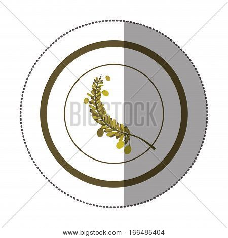 sticker circular with branch with multiple leaves vector illustration