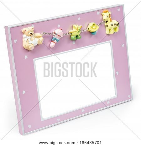 Baby pink photo frame with toys a pink color on a white background isolated