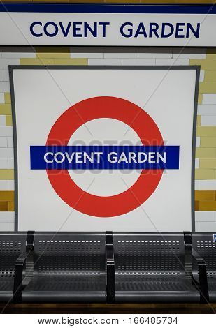 Covent Garden Tube Station Sign - London Underground Roundel