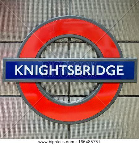 Knightsbridge Tube Station Sign - London Underground Roundel