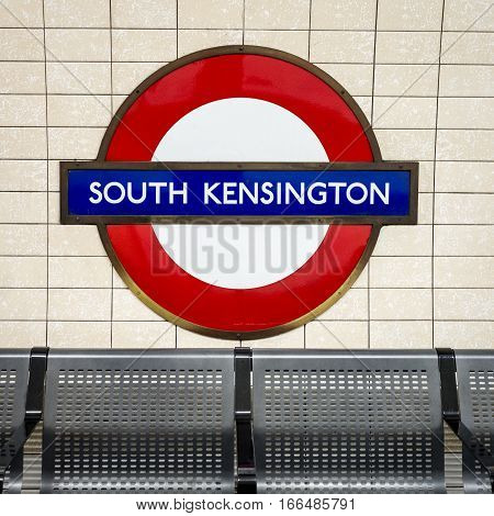 South Kensington Tube Station Sign - London Underground Roundel
