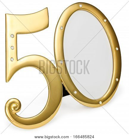 gold photo frame birthday 50 anniversary of isolation on a white background