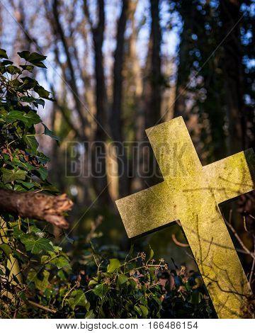 Cemetery: Stone Crucifix Headstone