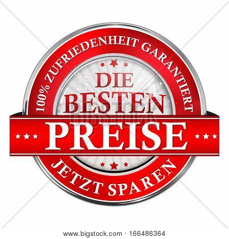 The best price, Save Now. 100% satisfaction guaranteed. - button / icon  German language  for retail industry and business companies