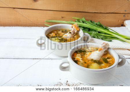 Cheese Soup With Chicken, Herbs And Vegetable