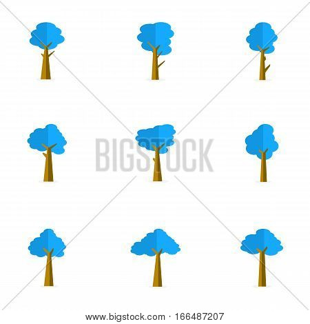 Illustration of blue tree set collection stock