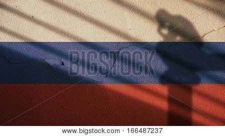Thinker Shadow on Russia Flag and Cracked Concrete Wall