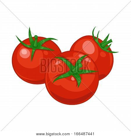 Three red ripe tomatoes on the isolated white background. Vector illustration.
