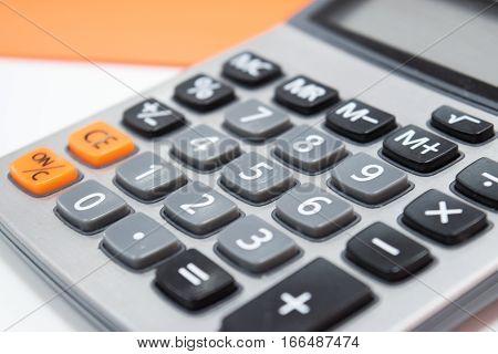 Close Up Business Design Calculator In Work Office