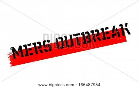 Mers Outbreak rubber stamp. Grunge design with dust scratches. Effects can be easily removed for a clean, crisp look. Color is easily changed.