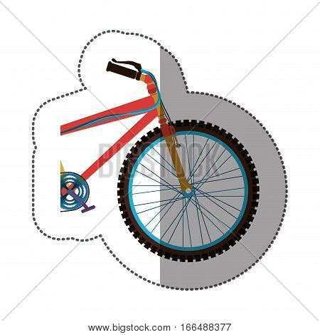 sticker colorful medium part bicycle with pedals vector illustration