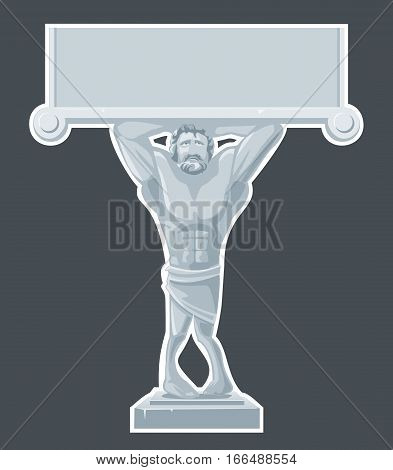 Architectural Atlas sculpture isolated on dark background. Vector flat gray illustration for web poster info graphic.
