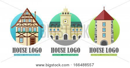 House logo vector illustration web buttons set. Building with clock, cottage house icon sign symbol. Windows in arc form. Tower with big clock in center of building. Flat style logo in circle