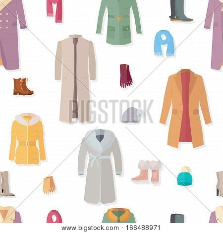 Seamless pattern with women accessories. Autumn winter collection elements. Stylish fashionable clothes from popular designers. Best world brands trends. For wallpaper design, posters, ads. Vector