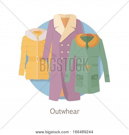 Outerwear web banner. Winter collection. Stylish fashionable woman coat garment from popular designers. Best world brands trends. New collection of outwear models. For store, boutique ad. Vector