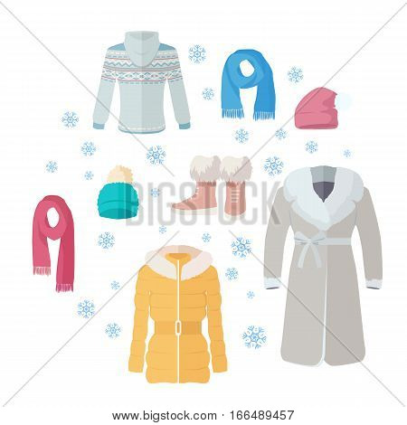 Big winter sales vector concept. Flat design. Warm womens clothes, shoes and accessories for cold season on blue background with snowflakes and sticker with text For store discounts ad design