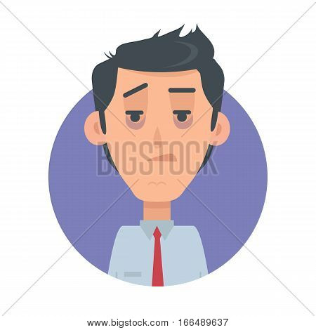 Indifferent man avatar web button. Male emotion avatar. Apathetic, uninterested emotion face, feelings, emotional intelligence expression. Incurious businessman character in flat style. Vector
