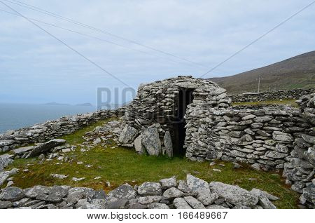 Archaelogical remains of the beehive huts in Ireland.