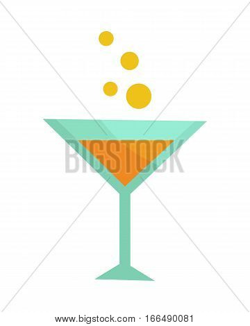 Glass with champagne isolated on white. Martini glass. Cocktail glass, stemmed glass with inverted cone bow. Glass of wine. Degustation or tasting. Cocktail icon or symbol. Vector illustration