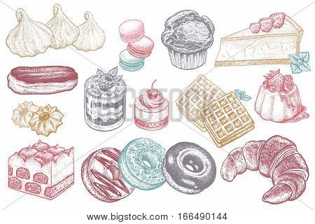 Desserts and sweets color isolated on white background. Hand drawing illustration vector. Cheesecake, macaroons, meringues, muffin, waffles, donuts, croissant, cakes,  cookies, eclair, tiramisu.