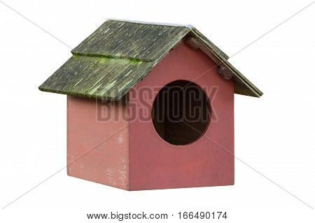 wooden house for birds isolated on white background