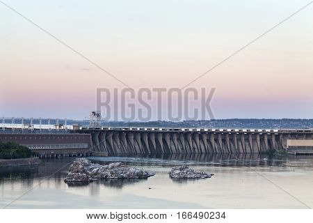 pink sunset over the hydroelectric Zaporozhye Ukraine