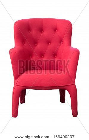 image of red armchair isolated on white background