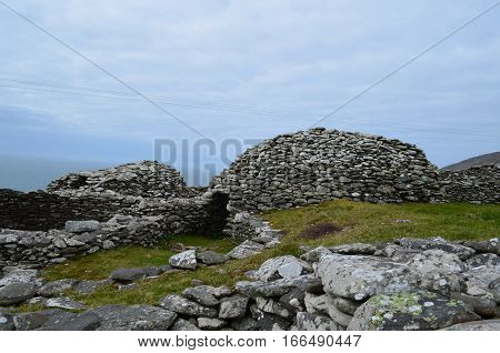 Collection of stone beehive huts remaining intact in Ireland.