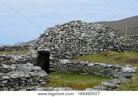 Stone beehive huts in County Kerry Ireland