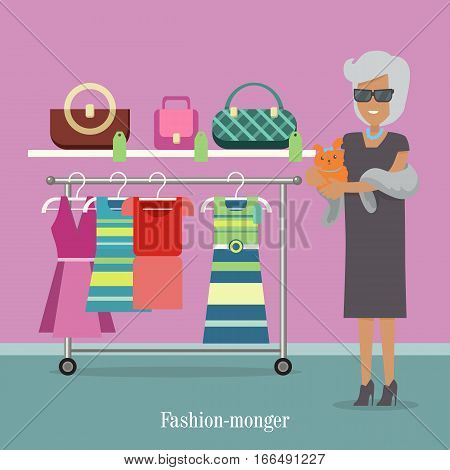 Fashion monger lady in luxury shop. Rich woman buys clothes. Successfu woman in dark glasses with little hand dog. Shoping in brand trand market in flat style design. Vector illustration