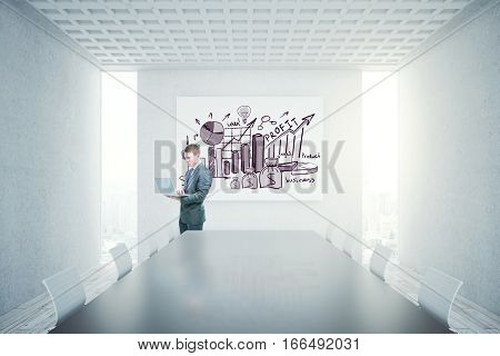 Bright concrete conference room interior with blank banner. Mock up 3D Rendering