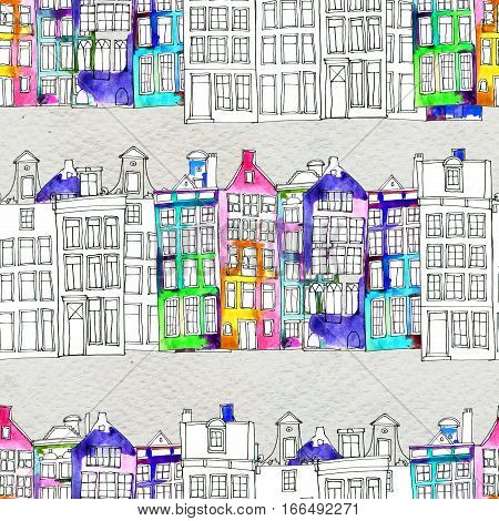 Netherlands houses hand painted seamless pattern. Doodle Watercolor illustration with Amsterdam city, urban style. Old town. City center, historic buildings. Europe.