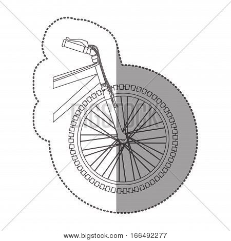 silhouette sticker front part bicycle in closeup vector illustration