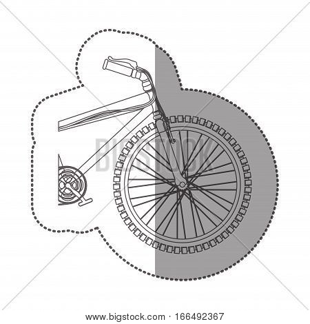 silhouette sticker medium part bicycle with pedals vector illustration