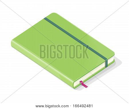 Note book isolated on white background. Green leather notebook. Fashionable organizer for data storage. Diary icon. Book sign. Closed green book symbol. Vector illustration in flat style design