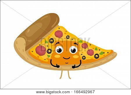 Cute pizza slice cartoon character isolated on white background vector illustration. Funny fast food restaurant emoticon face icon. Happy smile cartoon face food, comical pizza animated mascot symbol