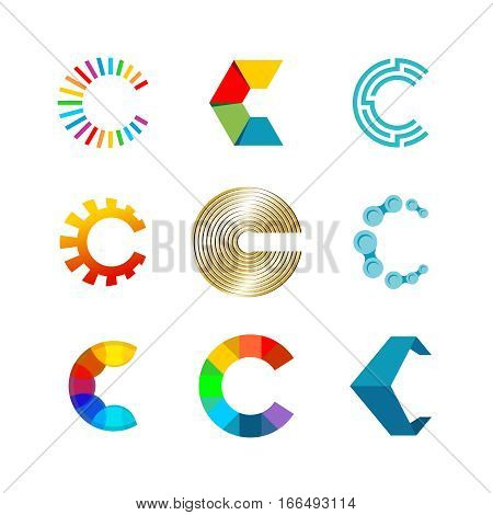 Letter C logo set. Color icon templates design. Set of colorful C letter symbols.