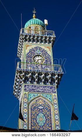 Clocktower of Al-Kadhimiya aka Golden Mosque in Baghdad Iraq